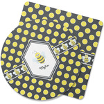 Bee & Polka Dots Rubber Backed Coaster (Personalized)