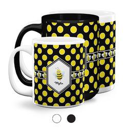 Bee & Polka Dots Coffee Mugs (Personalized)
