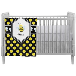 Bee & Polka Dots Crib Comforter / Quilt (Personalized)