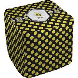 Bee & Polka Dots Cube Pouf Ottoman (Personalized)