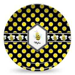 Bee & Polka Dots Microwave Safe Plastic Plate - Composite Polymer (Personalized)