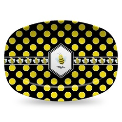 Bee & Polka Dots Plastic Platter - Microwave & Oven Safe Composite Polymer (Personalized)