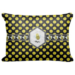 "Bee & Polka Dots Decorative Baby Pillowcase - 16""x12"" (Personalized)"