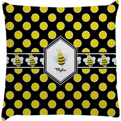 Bee & Polka Dots Decorative Pillow Case (Personalized)