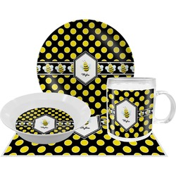 Bee & Polka Dots Dinner Set - 4 Pc (Personalized)