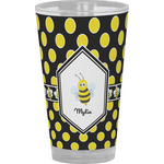 Bee & Polka Dots Drinking / Pint Glass (Personalized)