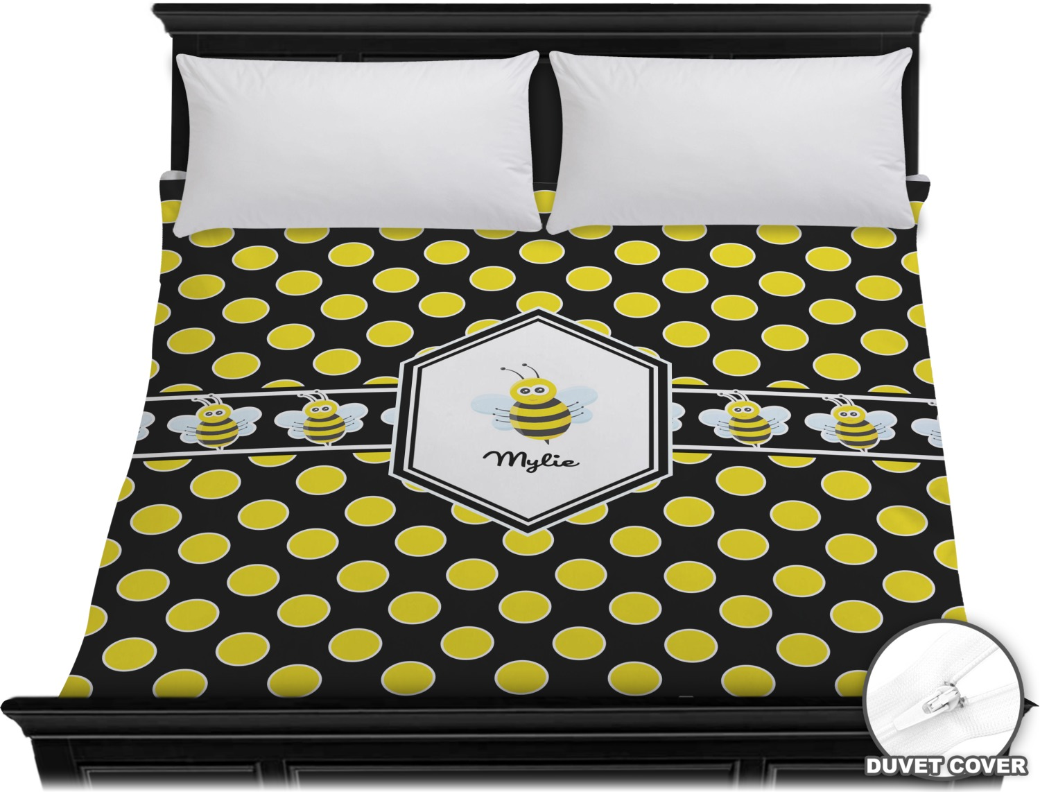 bee polka dots duvet cover king personalized youcustomizeit. Black Bedroom Furniture Sets. Home Design Ideas