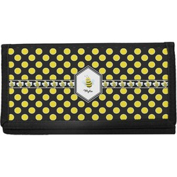 Bee & Polka Dots Canvas Checkbook Cover (Personalized)