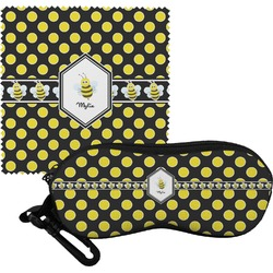 Bee & Polka Dots Eyeglass Case & Cloth (Personalized)