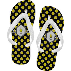 Bee & Polka Dots Flip Flops - Large (Personalized)