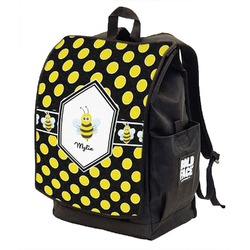 Bee & Polka Dots Backpack w/ Front Flap  (Personalized)