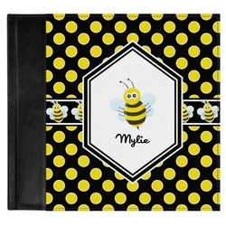 Bee & Polka Dots Genuine Leather Baby Memory Book (Personalized)