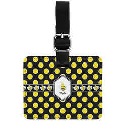 Bee & Polka Dots Genuine Leather Rectangular  Luggage Tag (Personalized)