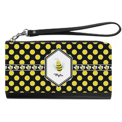 Bee & Polka Dots Genuine Leather Smartphone Wrist Wallet (Personalized)