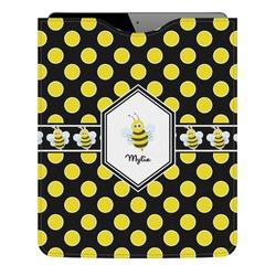 Bee & Polka Dots Genuine Leather iPad Sleeve (Personalized)
