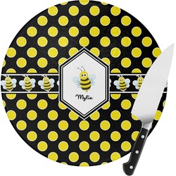 Bee & Polka Dots Round Glass Cutting Board (Personalized)