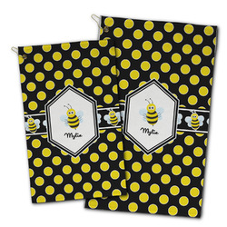 Bee & Polka Dots Golf Towel - Full Print w/ Name or Text