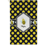 Bee & Polka Dots Golf Towel - Full Print - Small w/ Name or Text