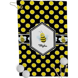Bee & Polka Dots Golf Towel - Full Print (Personalized)