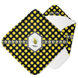 Bee & Polka Dots Hooded Baby Towel (Personalized)