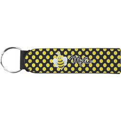 Bee & Polka Dots Neoprene Keychain Fob (Personalized)