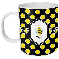 Bee & Polka Dots Plastic Kids Mug (Personalized)