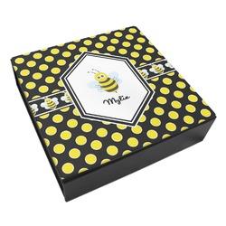 Bee & Polka Dots Leatherette Keepsake Box - 8x8 (Personalized)