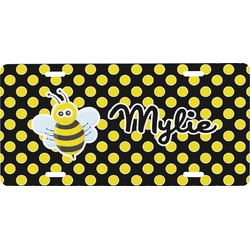 Bee & Polka Dots Front License Plate (Personalized)