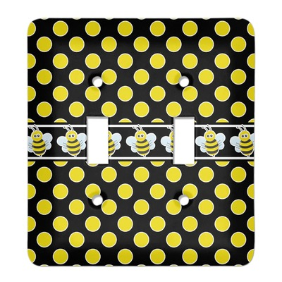 Bee Polka Dots Light Switch Cover 2 Toggle Plate Personalized