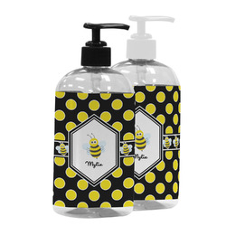 Bee & Polka Dots Plastic Soap / Lotion Dispenser (Personalized)