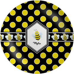"""Bee & Polka Dots Melamine Salad Plate - 8"""" (Personalized)"""