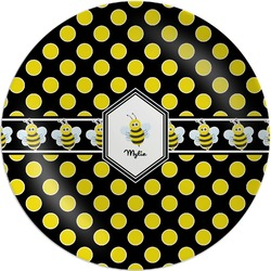 Bee & Polka Dots Melamine Plate (Personalized)