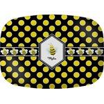 Bee & Polka Dots Melamine Platter (Personalized)