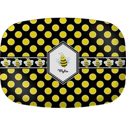 Bee & Polka Dots Melamine Platter (Personalized)