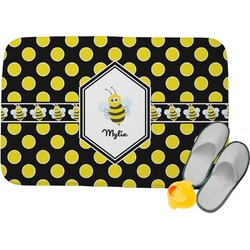 Bee & Polka Dots Memory Foam Bath Mat (Personalized)
