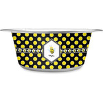 Bee & Polka Dots Stainless Steel Dog Bowl (Personalized)