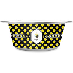 Bee & Polka Dots Stainless Steel Pet Bowl - Medium (Personalized)