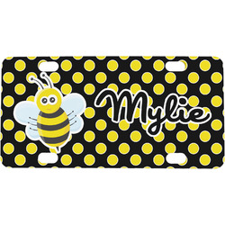 Bee & Polka Dots Mini / Bicycle License Plate (Personalized)