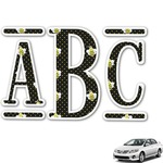 Bee & Polka Dots Monogram Car Decal (Personalized)