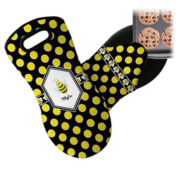 Bee & Polka Dots Neoprene Oven Mitts w/ Name or Text