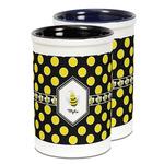 Bee & Polka Dots Ceramic Pencil Holder - Large