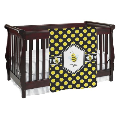 Bee & Polka Dots Baby Blanket (Personalized)
