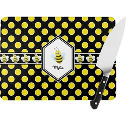 Bee & Polka Dots Rectangular Glass Cutting Board (Personalized)