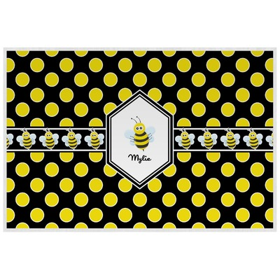 Bee & Polka Dots Laminated Placemat w/ Name or Text