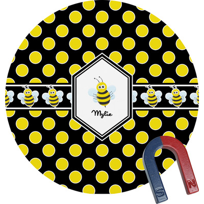 Bee & Polka Dots Round Fridge Magnet (Personalized)