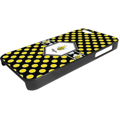 Bee & Polka Dots Plastic iPhone 5/5S Phone Case (Personalized)