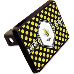 "Bee & Polka Dots Rectangular Trailer Hitch Cover - 2"" (Personalized)"
