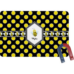 Bee & Polka Dots Rectangular Fridge Magnet (Personalized)