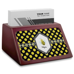 Bee & Polka Dots Red Mahogany Business Card Holder (Personalized)