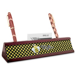 Bee & Polka Dots Red Mahogany Nameplate with Business Card Holder (Personalized)